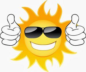 sun cartoon with thumbs up advertising galveston island vacations