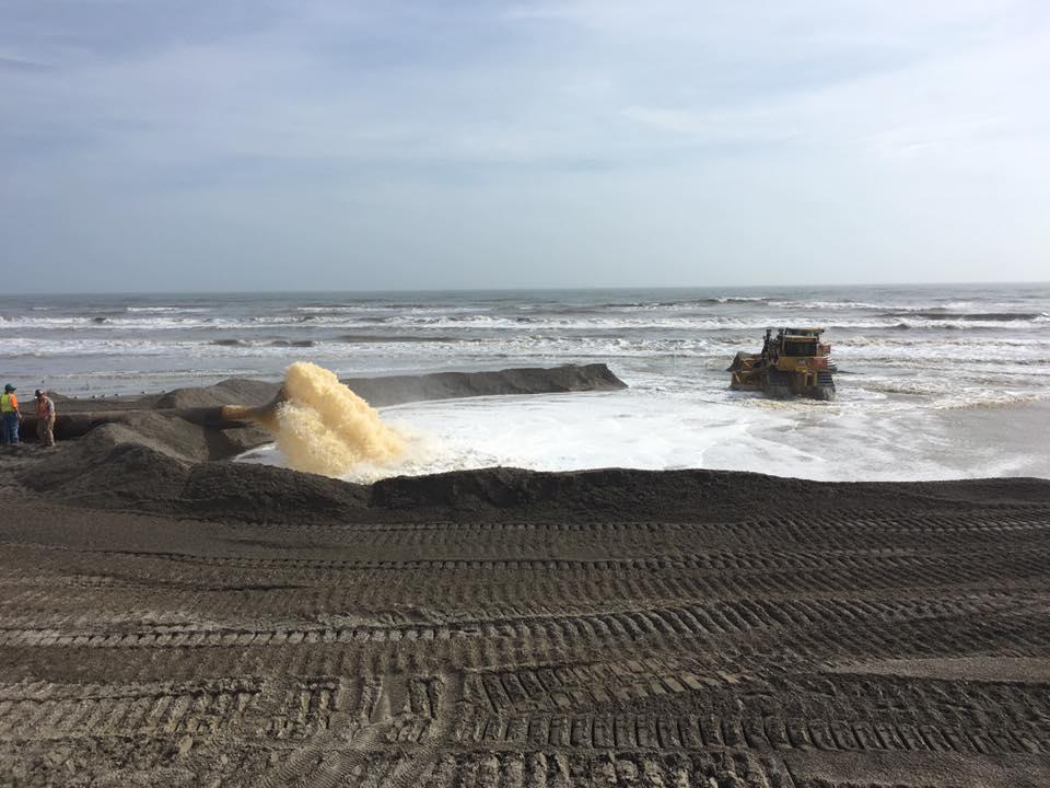 Sand Slurry Being Pumped Onto Beach