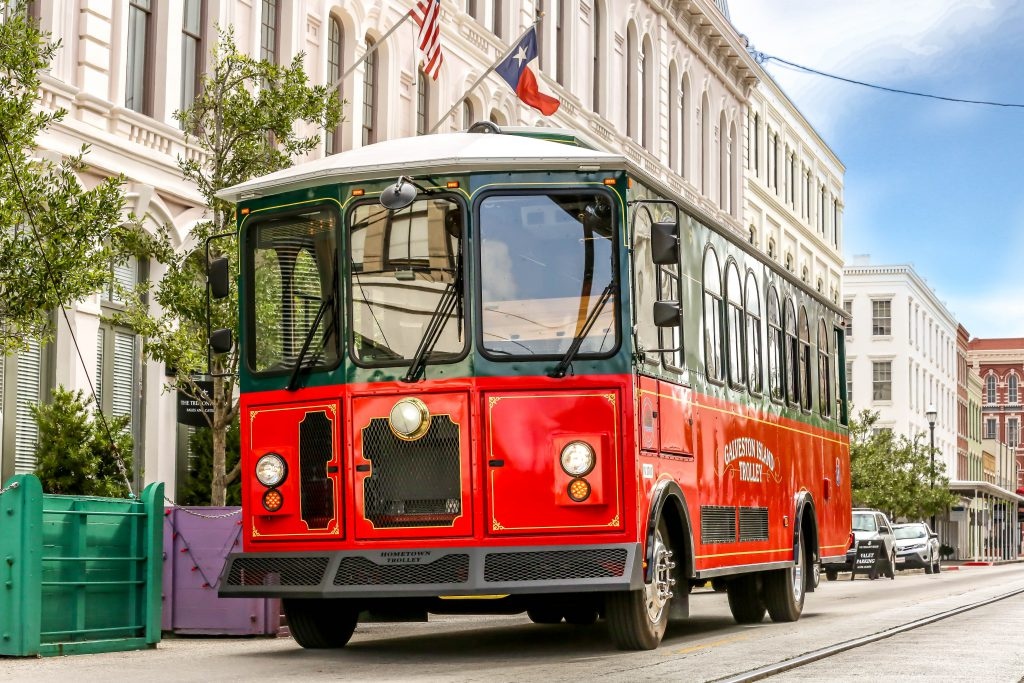 red galveston island historic trolley