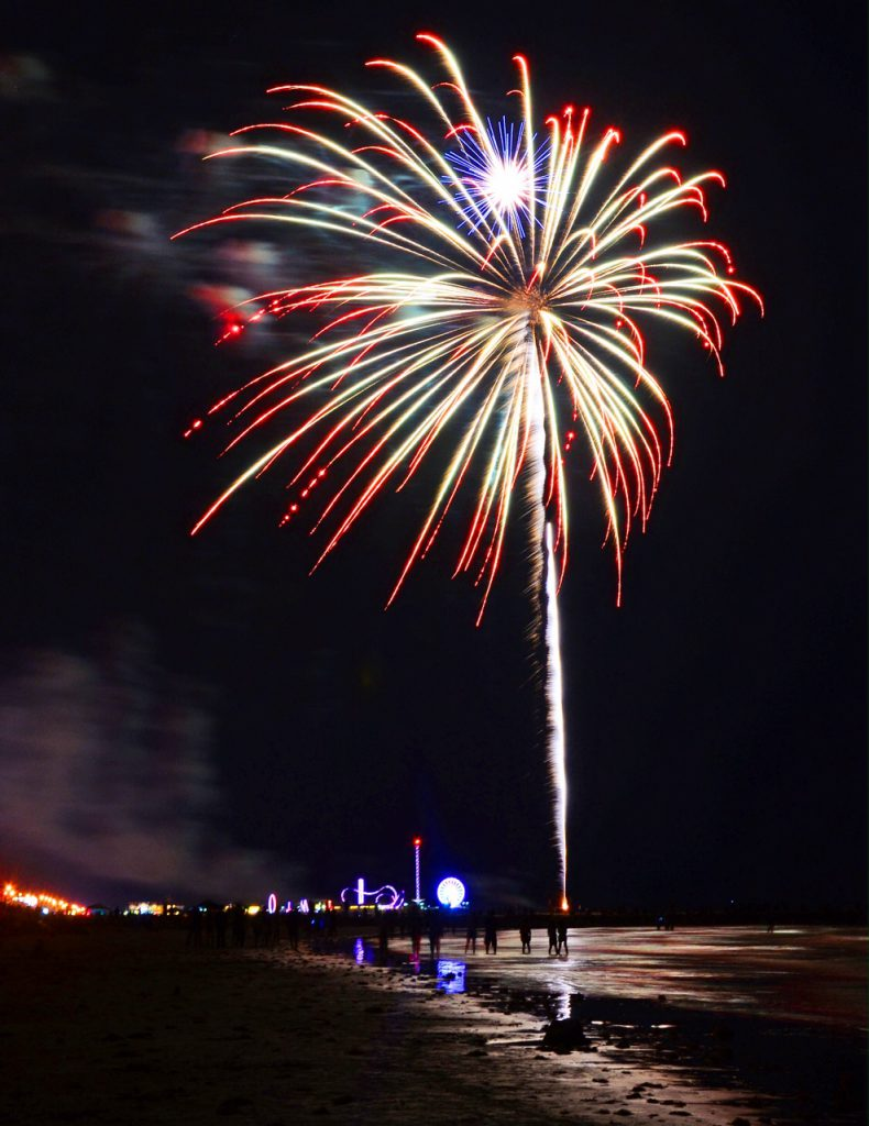 galveston island seawall beachfront fireworks