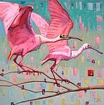 painting of two pink birds featured at galveston art walk gallery
