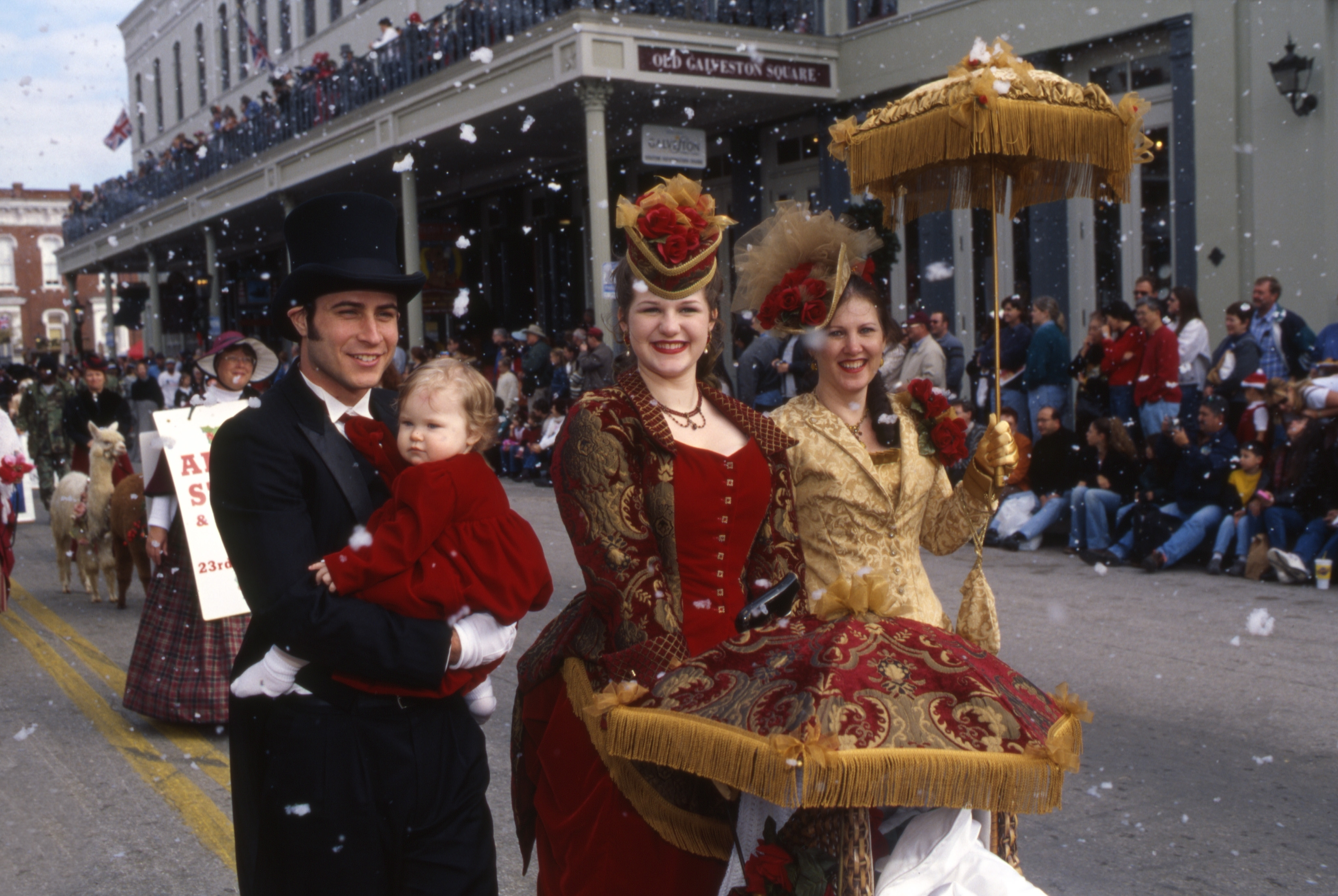 Family dressed in tradition clothing at Dickens on the strand in galveston island tx