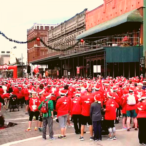 Runners at the Galveston Santa Hustle Race