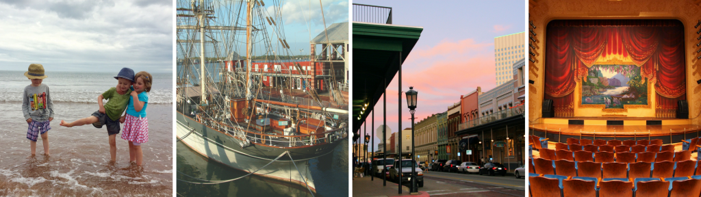 3 days on Galveston photo collage with pictures of children on beach, Tall Ship Elissa, The Strand Galveston and 1894 Opera House