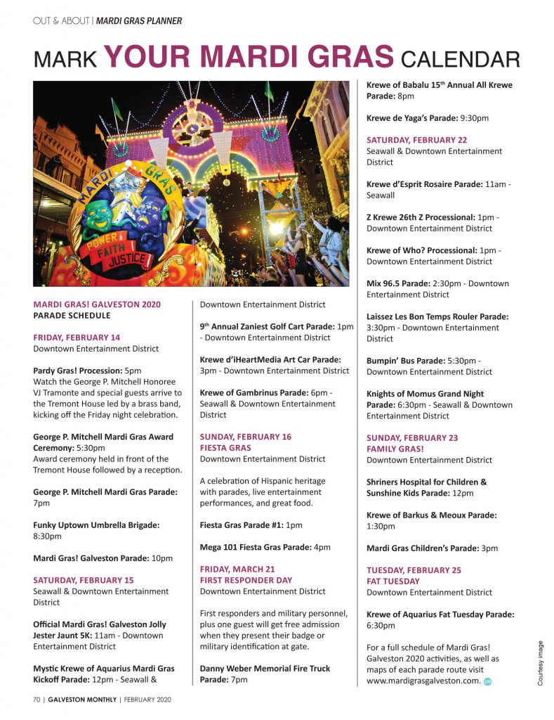 2020 Mardi Gras Parade Schedule from Galveston Monthly Magazine