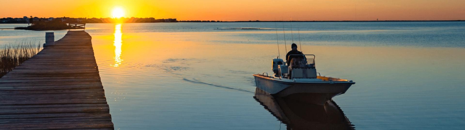 Boat at sunset in Galveston TX