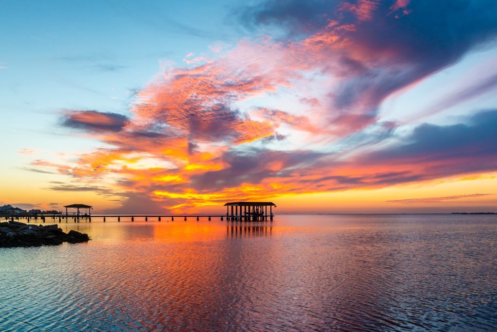 Fishing Pier and Sunset on Galveston Bay