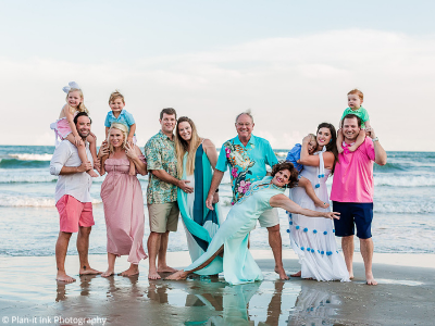 Galveston family photo with bright colors - Plan-it Ink Photography