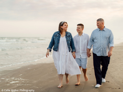 Galveston family photo with blue and white - Callie Walker Photography