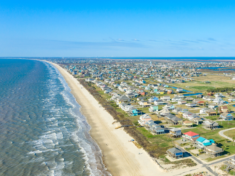 Aerial photo of Galveston's West End