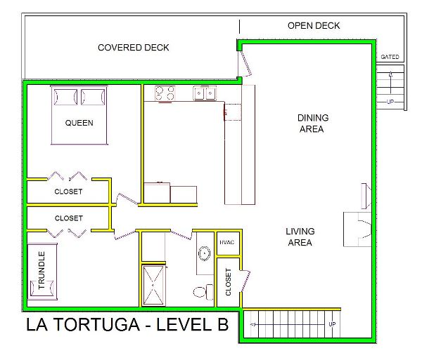 A level B layout view of Sand 'N Sea's beachside house vacation rental in Galveston named La Tortuga
