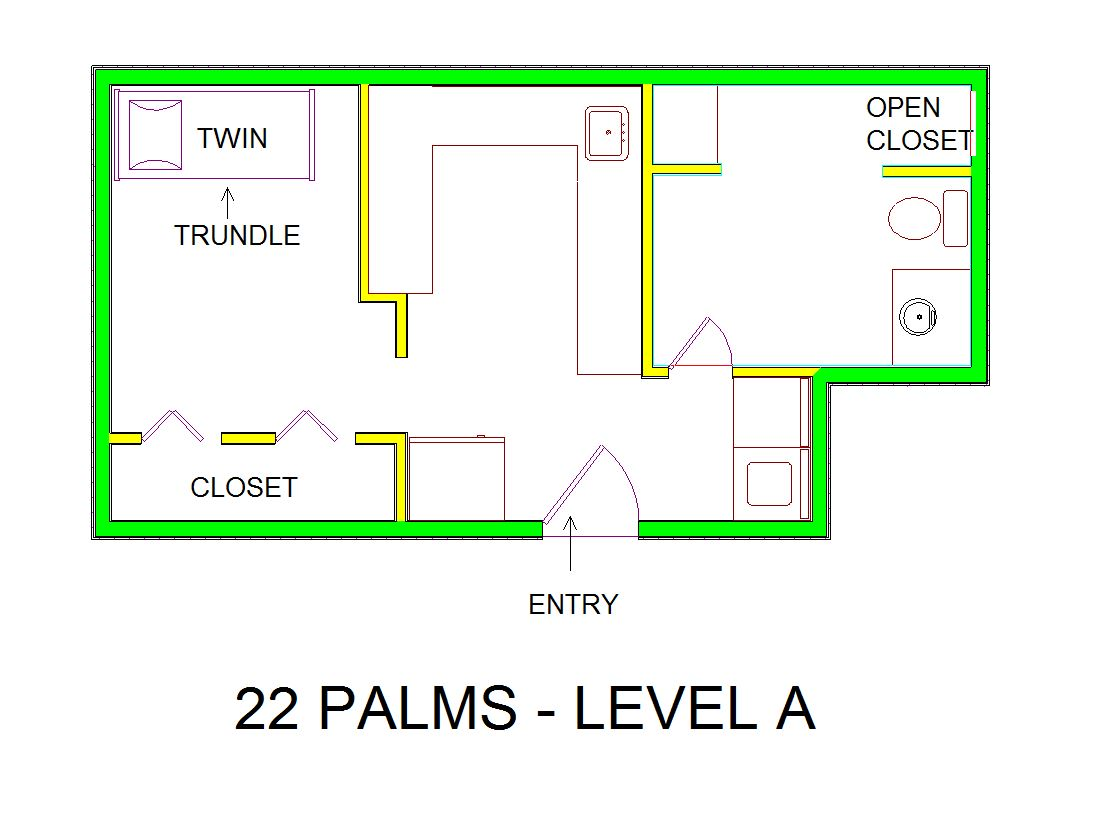 A level A layout view of Sand 'N Sea's canal house vacation rental in Jamaica Beach named 22 Palms