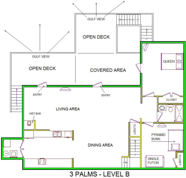 A level B layout view of Sand 'N Sea's beachfront house vacation rental in Galveston named 3 Palms