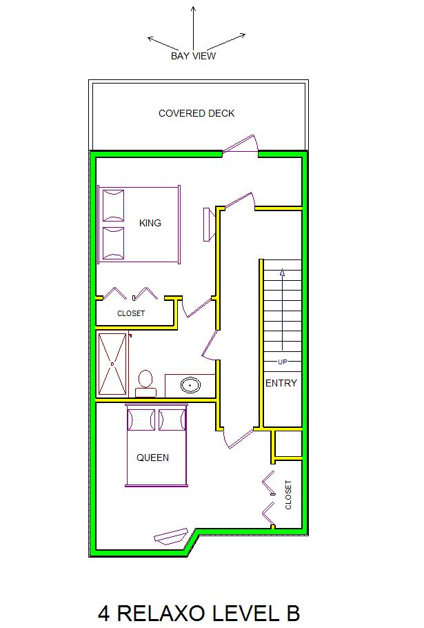 A level B layout view of Sand 'N Sea's bayfront condo/townhouse vacation rental in Galveston named 4 Relaxo