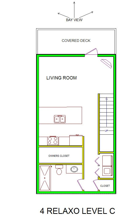 A level C layout view of Sand 'N Sea's bayfront condo/townhouse vacation rental in Galveston named 4 Relaxo