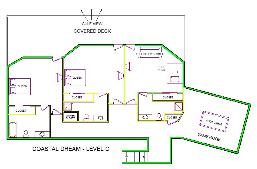 A level C layout view of Sand 'N Sea's beachfront house vacation rental in Galveston named Coastal Dream