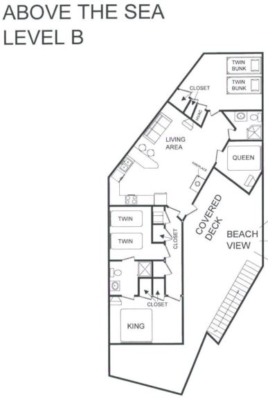 A level B layout view of Sand 'N Sea's beachfront house vacation rental in Galveston named Above The Sea