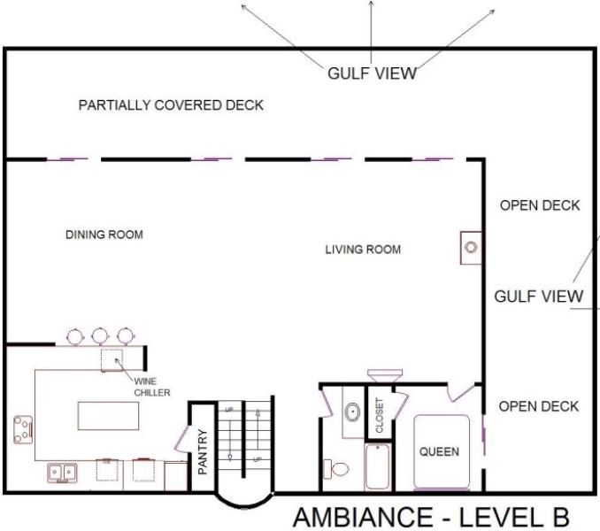 A level B layout view of Sand 'N Sea's beachfront house vacation rental in Galveston named Ambiance
