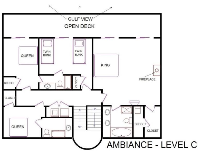 A level C layout view of Sand 'N Sea's beachfront house vacation rental in Galveston named Ambiance