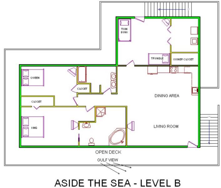 A level B layout view of Sand 'N Sea's beachside with gulf view house vacation rental in Galveston named Aside The Sea