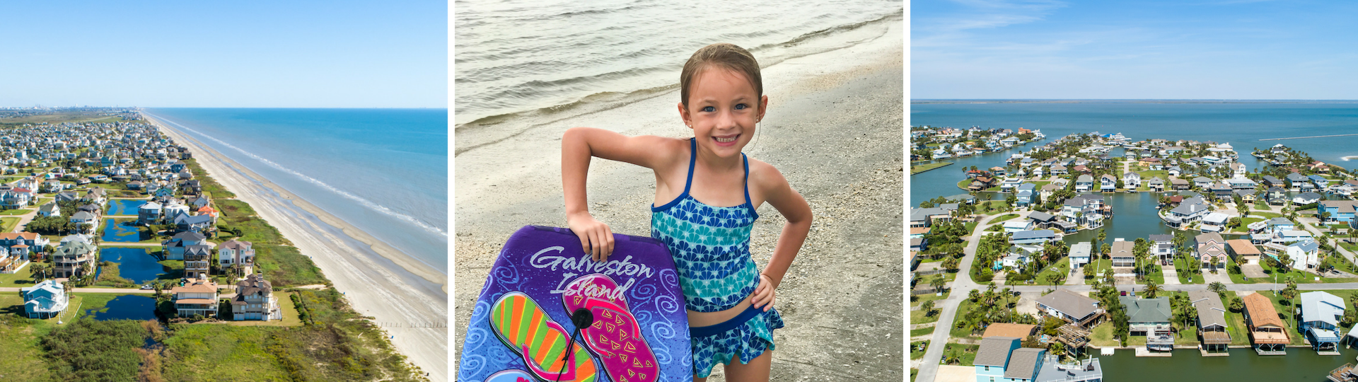 aerial view of beach houses, little girl with boogie board