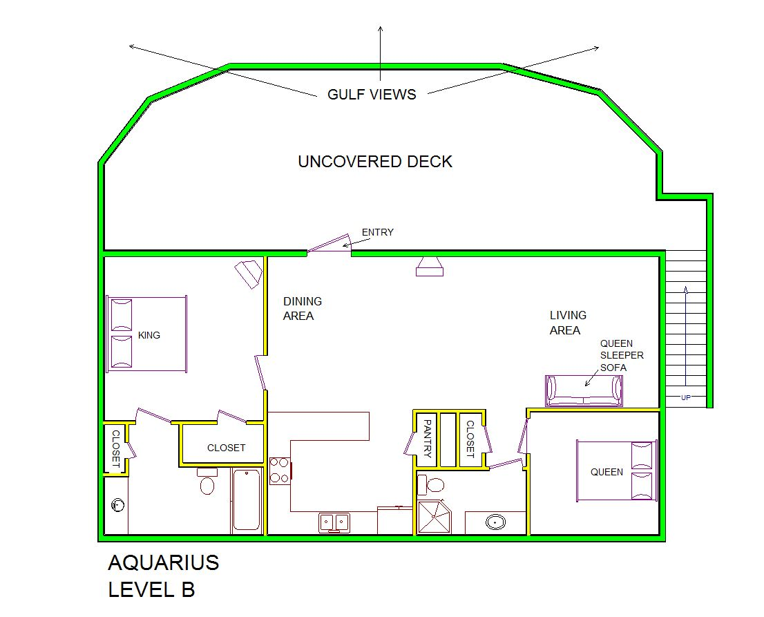 A level B layout view of Sand 'N Sea's beachfront house vacation rental in Galveston named Aquarius