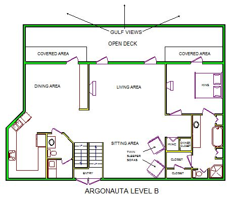 A level B layout view of Sand 'N Sea's beachfront house vacation rental in Galveston named Argonauta