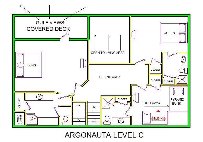 A level C layout view of Sand 'N Sea's beachfront house vacation rental in Galveston named Argonauta