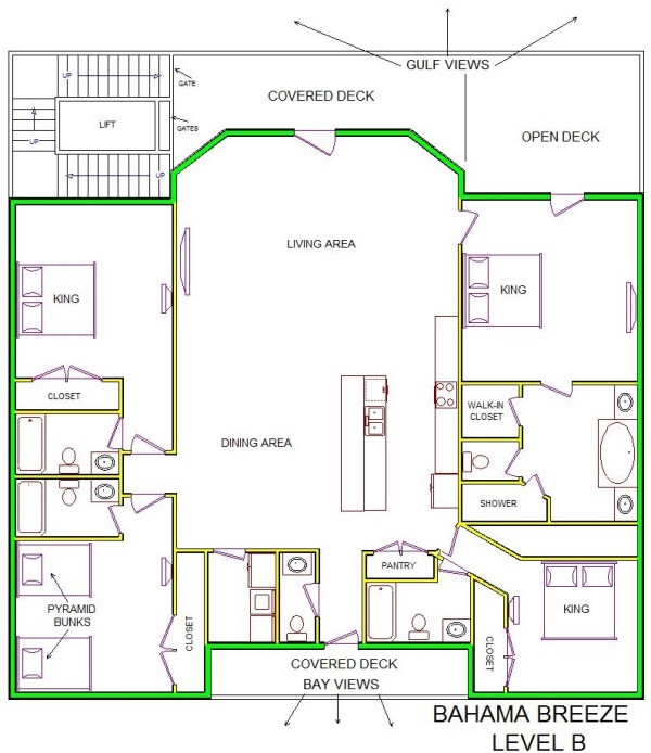 A level B layout view of Sand 'N Sea's beachfront house vacation rental in Galveston named Bahama Breeze