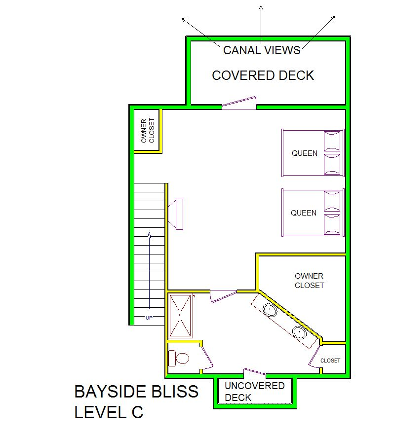 A level C layout view of Sand 'N Sea's canal house vacation rental in Galveston named Bayside Bliss