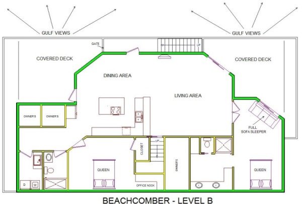 A level B layout view of Sand 'N Sea's beachfront house vacation rental in Jamaica Beach named Beachcomber