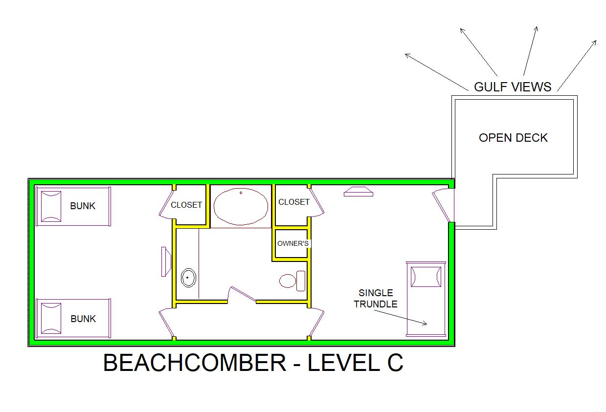 A level C layout view of Sand 'N Sea's beachfront house vacation rental in Jamaica Beach named Beachcomber