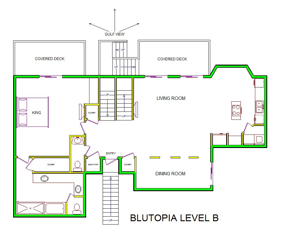 A level B layout view of Sand 'N Sea's beachfront house vacation rental in Galveston named Blutopia
