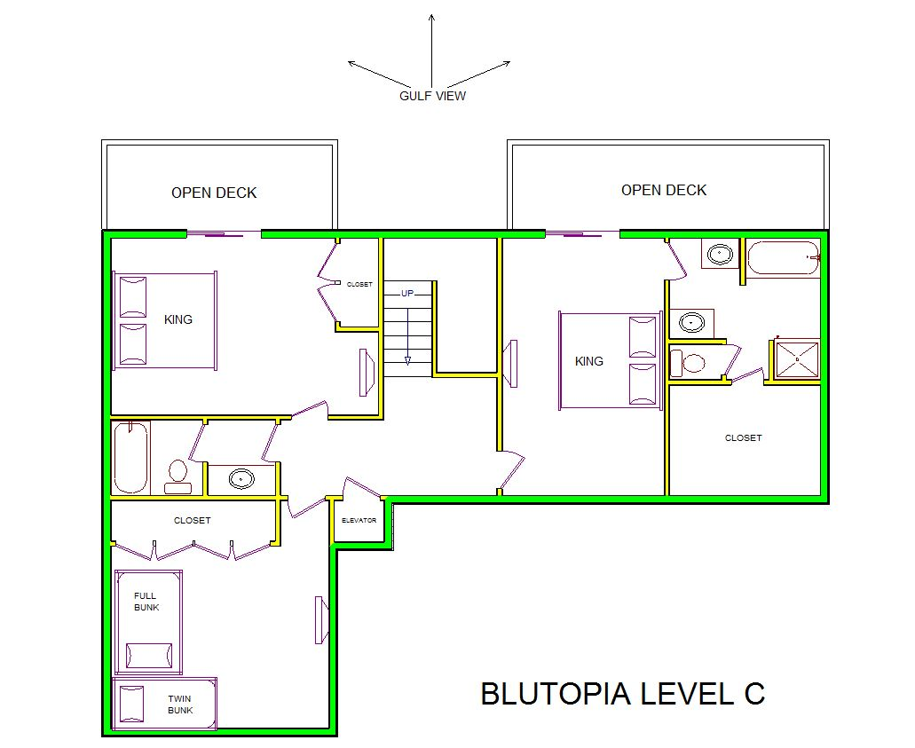 A level C layout view of Sand 'N Sea's beachfront house vacation rental in Galveston named Blutopia