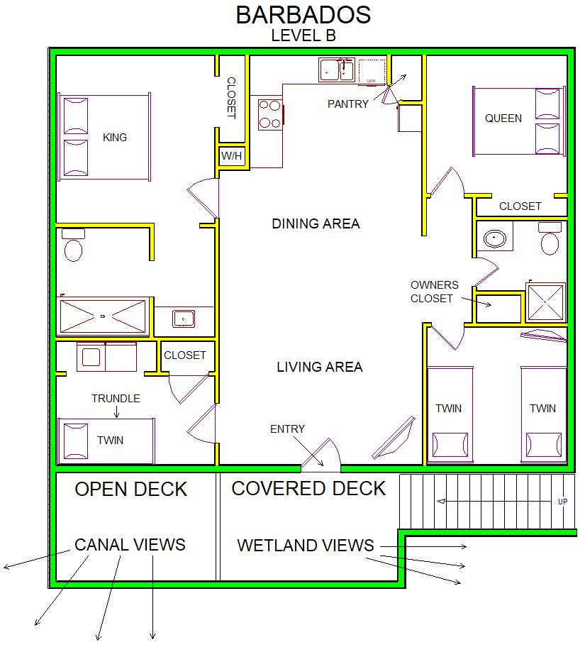 A level B layout view of Sand 'N Sea's canal house vacation rental in Jamaica Beach named Barbados
