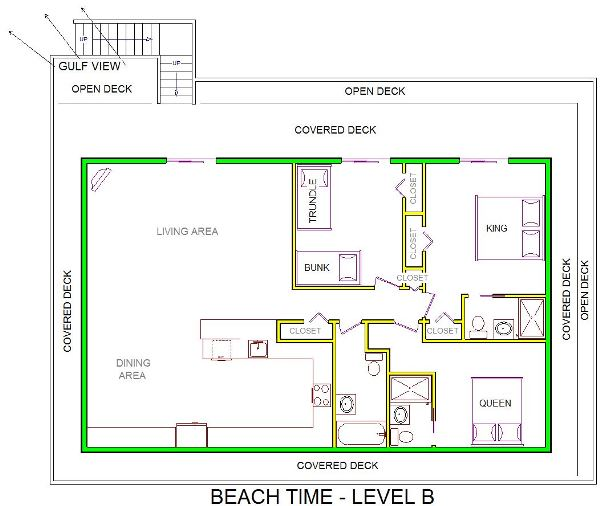 A level B layout view of Sand 'N Sea's beachside house vacation rental in Galveston named Beach Time