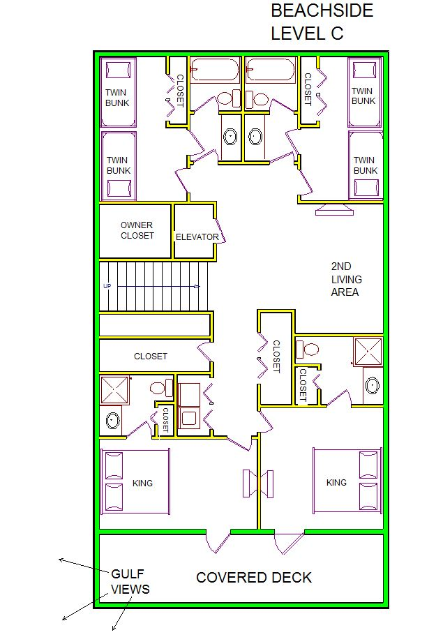 A level C layout view of Sand 'N Sea's beachside house vacation rental in Galveston named Beachside
