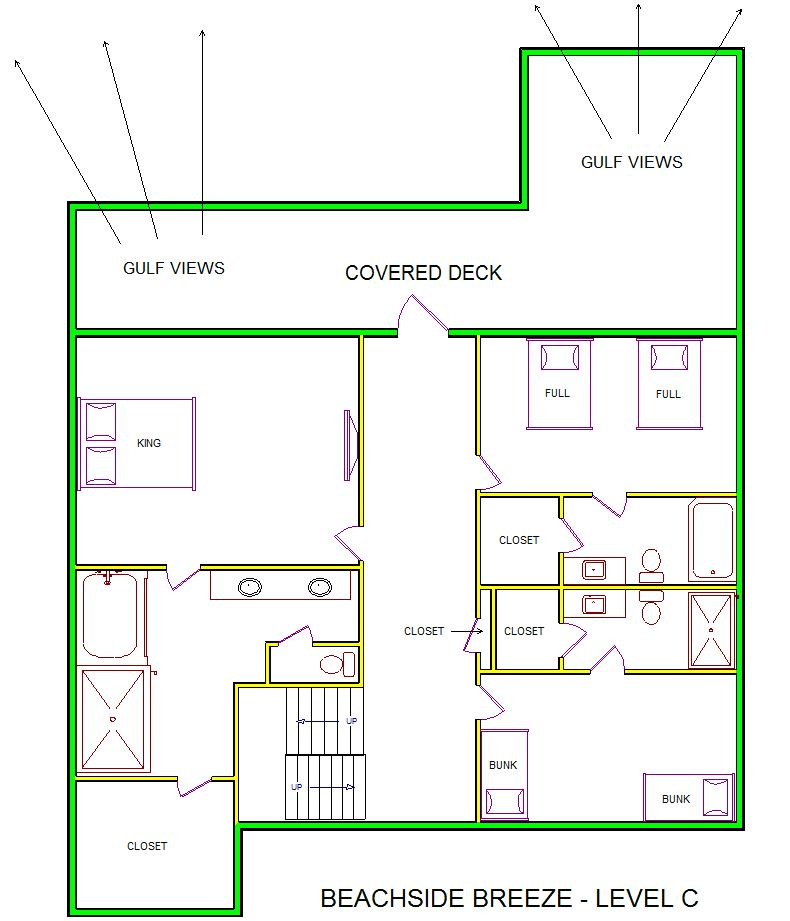 A level C layout view of Sand 'N Sea's beachside with gulf view house vacation rental in Galveston named Beachside Breeze