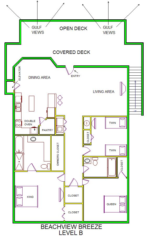 A level B layout view of Sand 'N Sea's beachside with gulf view house vacation rental in Galveston named Beachview Breeze
