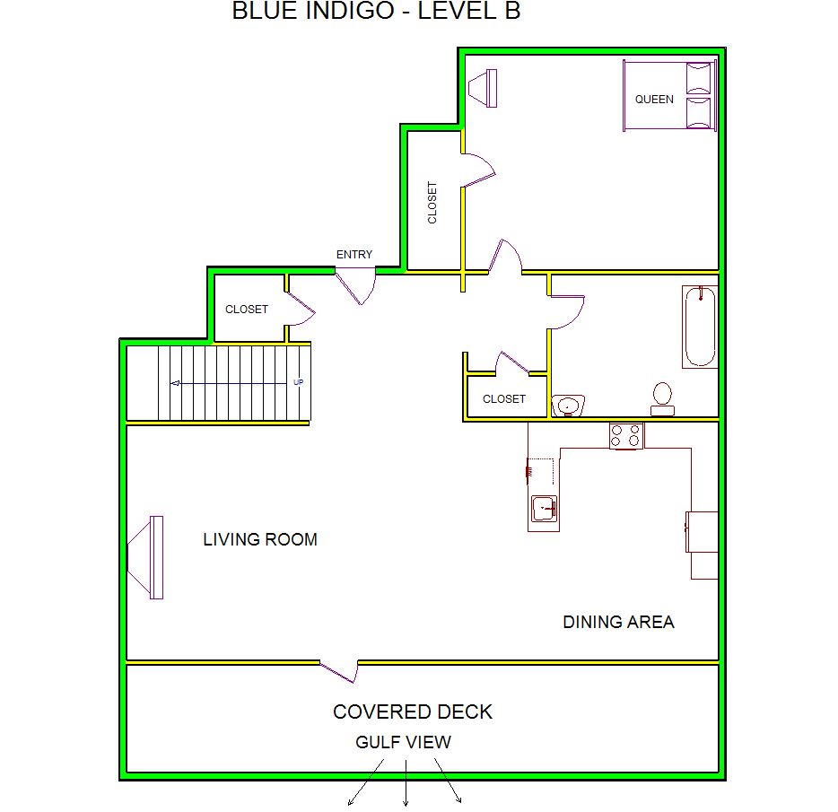 A level B layout view of Sand 'N Sea's beachfront house vacation rental in Galveston named Blue Indigo