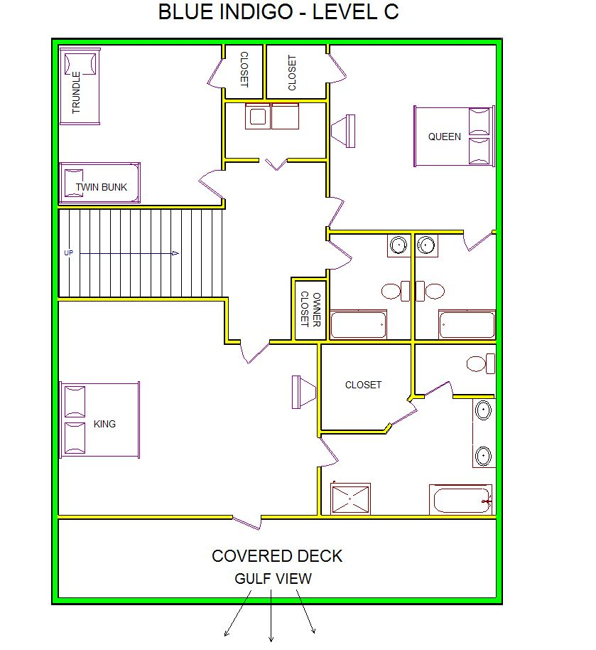 A level C layout view of Sand 'N Sea's beachfront house vacation rental in Galveston named Blue Indigo