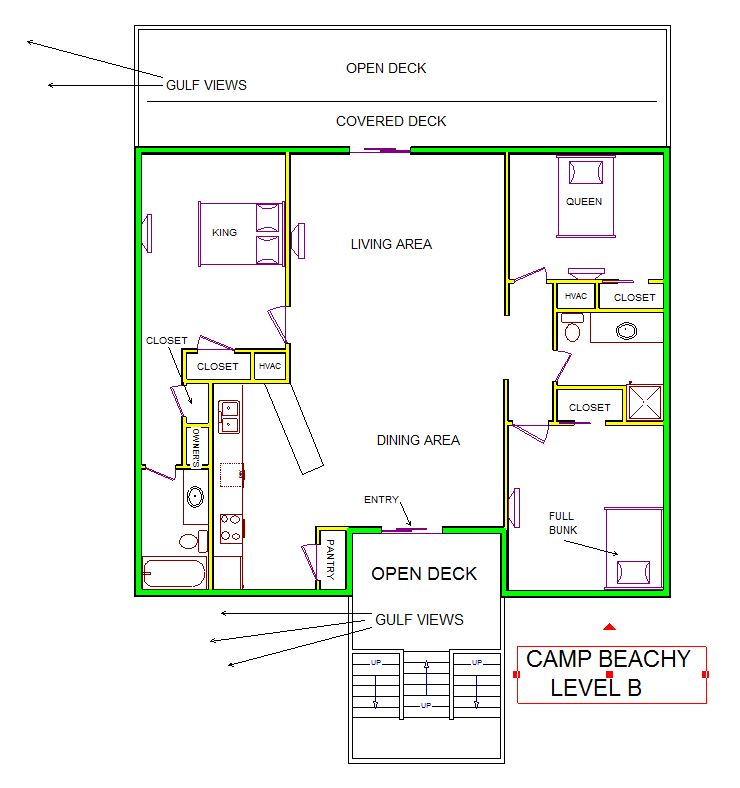 A level B layout view of Sand 'N Sea's beachside house vacation rental in Galveston named Camp Beachy