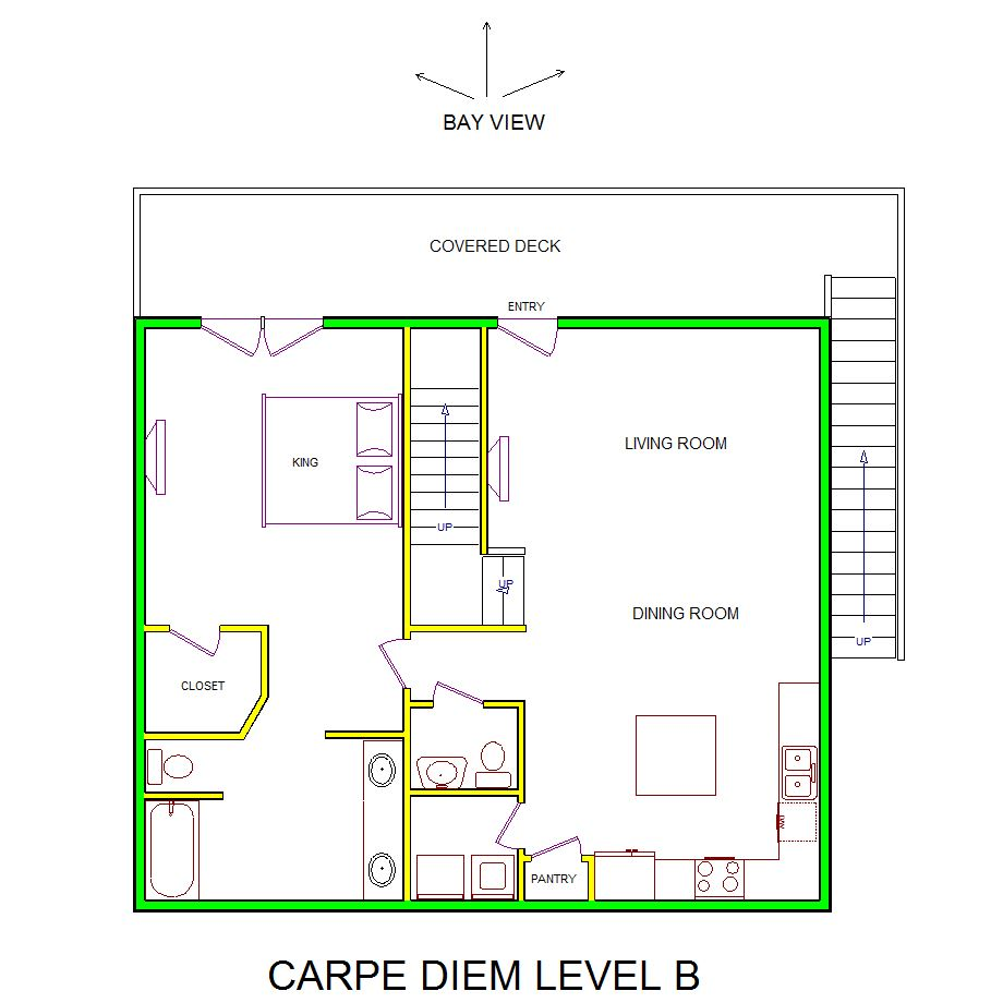 A level B layout view of Sand 'N Sea's bayfront house vacation rental in Galveston named Carpe Diem