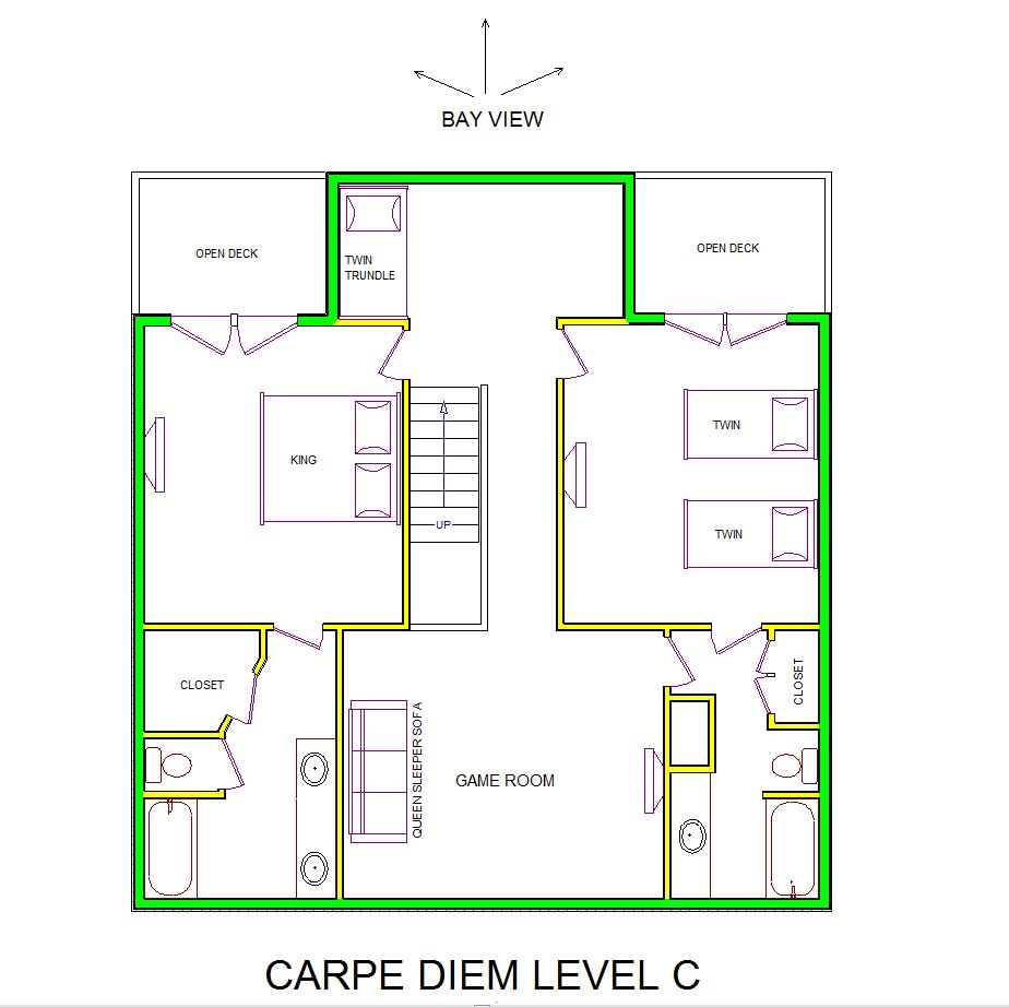 A level C layout view of Sand 'N Sea's bayfront house vacation rental in Galveston named Carpe Diem