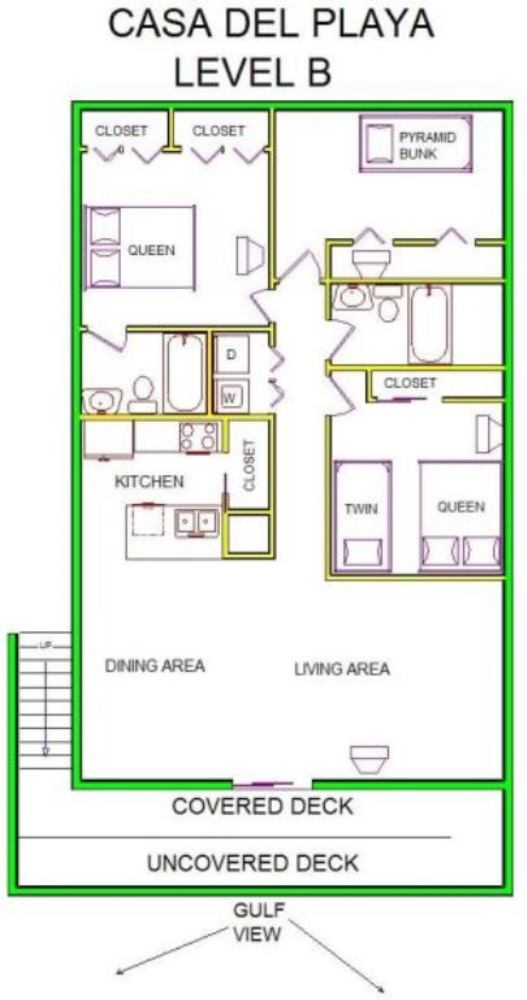 A level B layout view of Sand 'N Sea's beachside with gulf view house vacation rental in Galveston named Casa De La Playa
