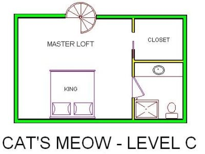 A level C layout view of Sand 'N Sea's beachfront house vacation rental in Galveston named Cat's Meow