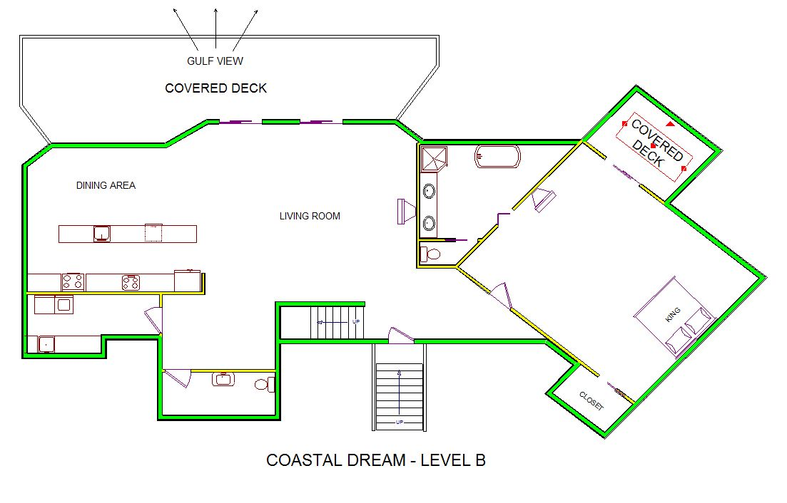 A level B layout view of Sand 'N Sea's beachfront house vacation rental in Galveston named Coastal Dream