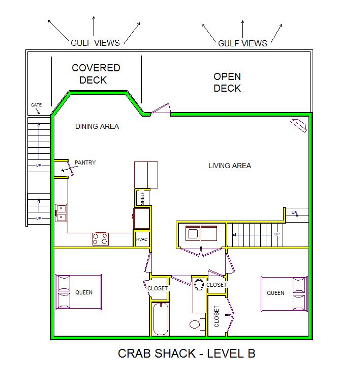 A level B layout view of Sand 'N Sea's beachfront house vacation rental in Galveston named Crab Shack