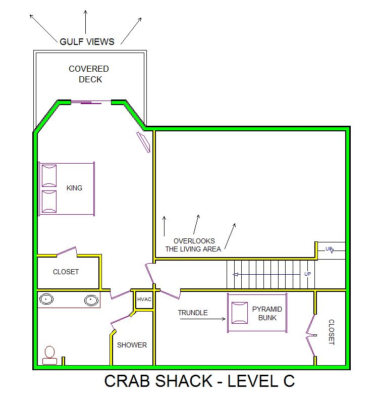 A level C layout view of Sand 'N Sea's beachfront house vacation rental in Galveston named Crab Shack