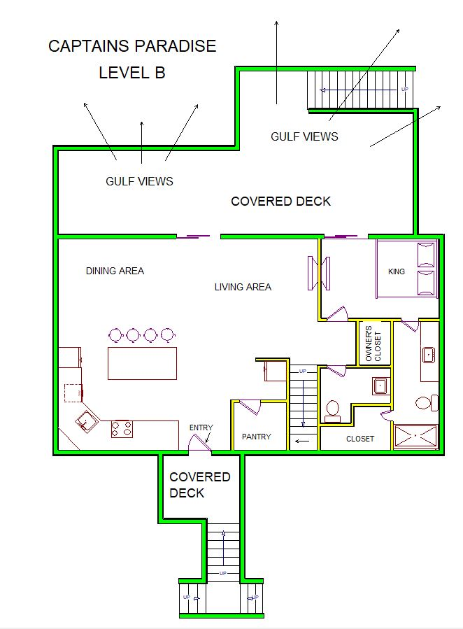 A level B layout view of Sand 'N Sea's beachfront with gulf view house vacation rental in Galveston named Captain's Paradise